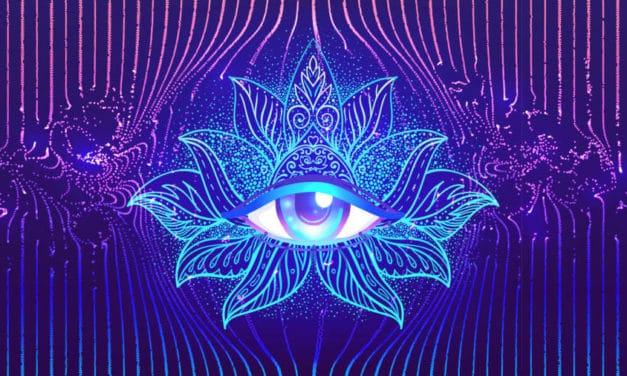Ilustração de um olho em meio a uma flor de lótus.