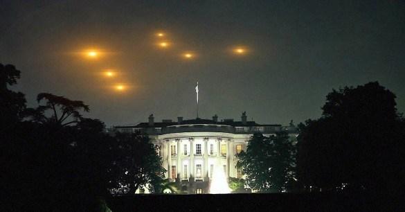 Supostos discos voadores sobrevoando a Casa Branca.