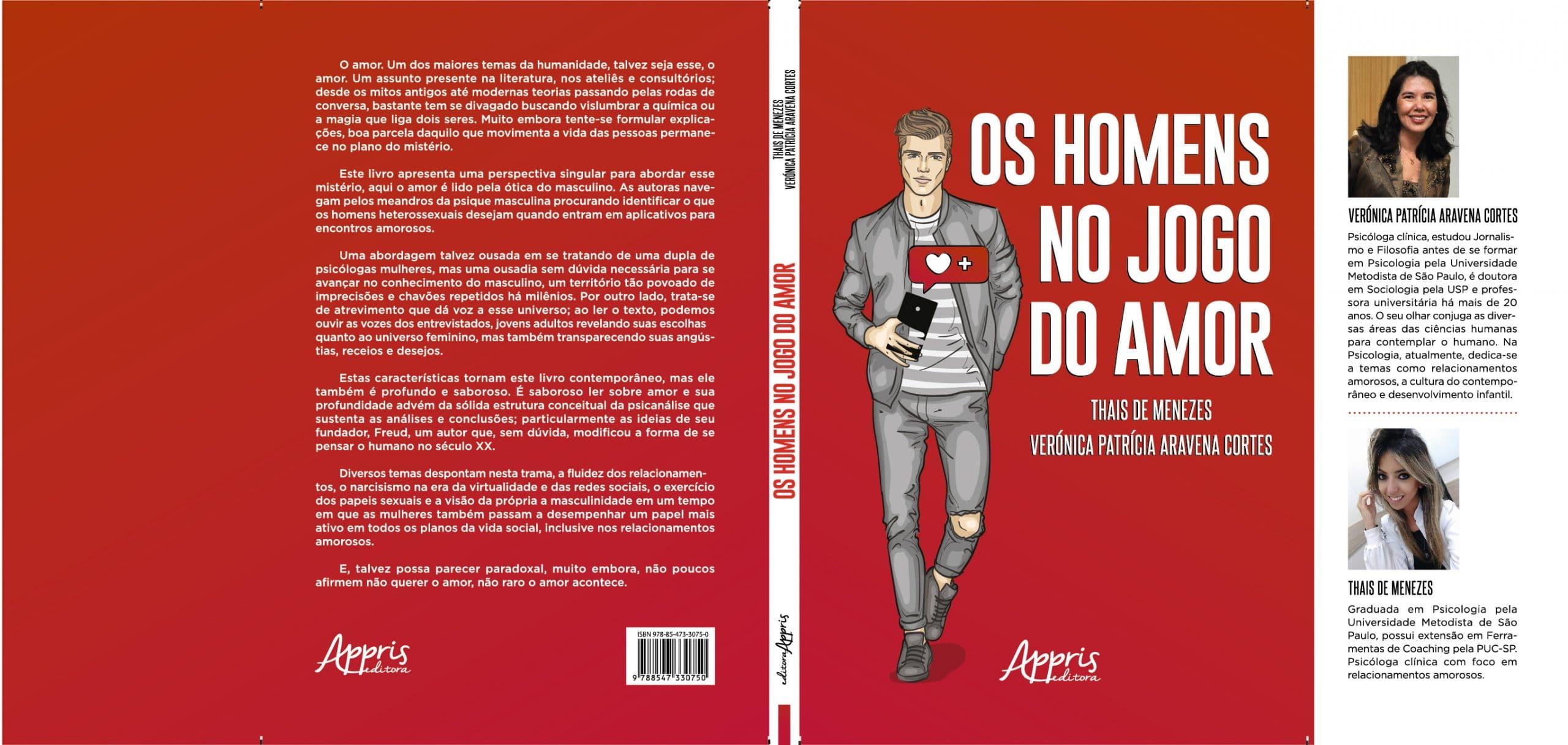 """Capa do livro """"Os Homens no Jogo do Amor"""", com fundo em vermelho e uma ilustração de um homem segurando um celular preto."""