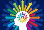 Ilustração de uma cabeça de onde saem várias setas coloridas.