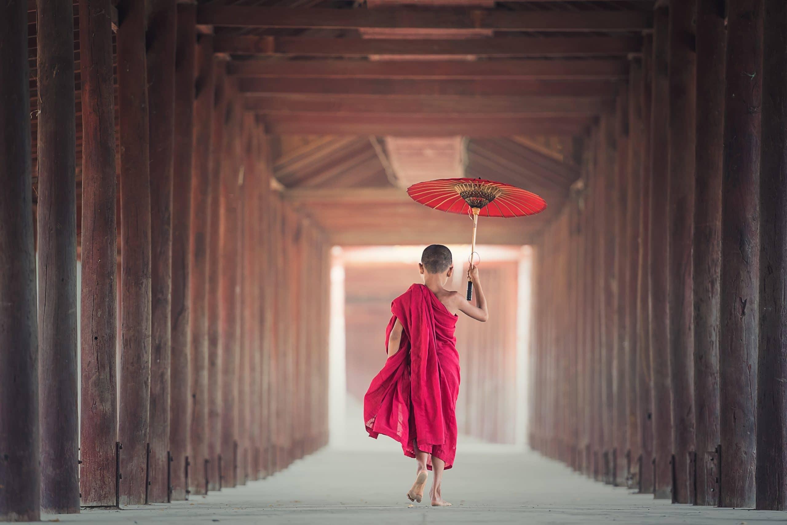 Pequeno monge budista andando com um guarda-chuva andando em um templo.
