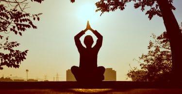 Silhueta de pessoa com mãos acima da cabeça sentada em posição de meditação com árvores e sol ao fundo