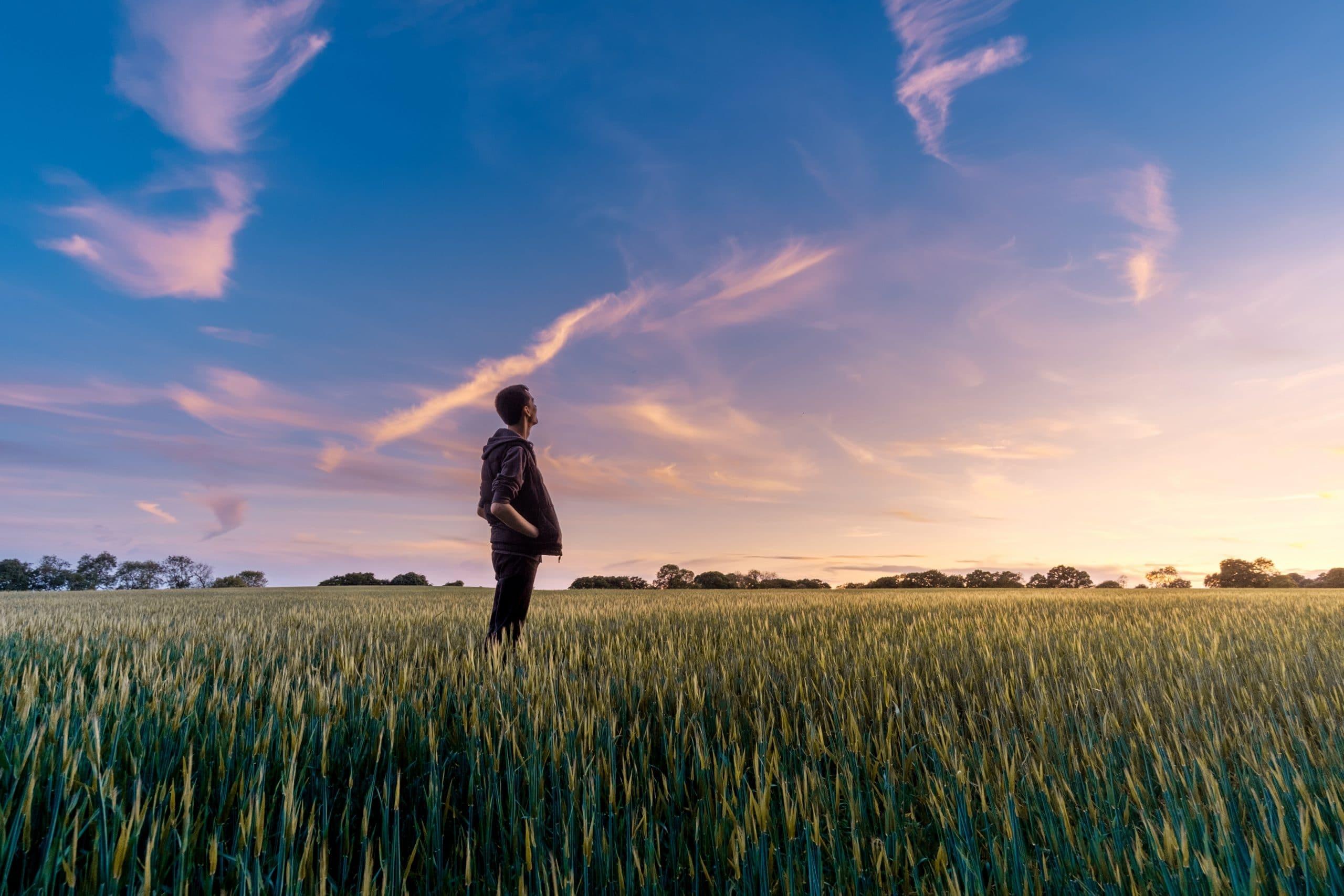 Homem em pé em um campo, olhando o Sol no horizonte.