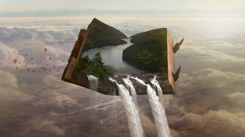 Imagem editada com um livro nas alturas mostrando cachoeiras no seu interior que caem para fora do livro.