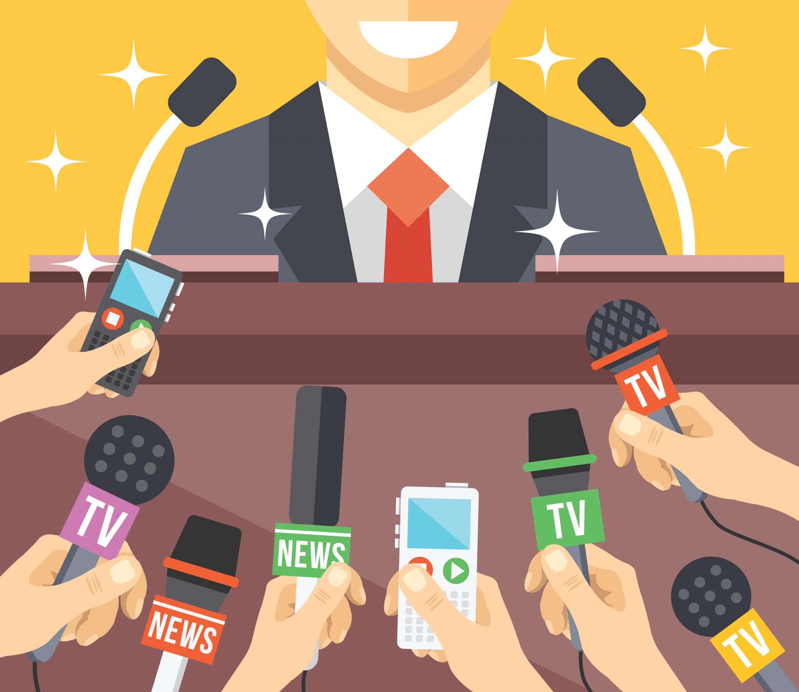 Jornalistas com microfones em torno de homem vestido socialmente