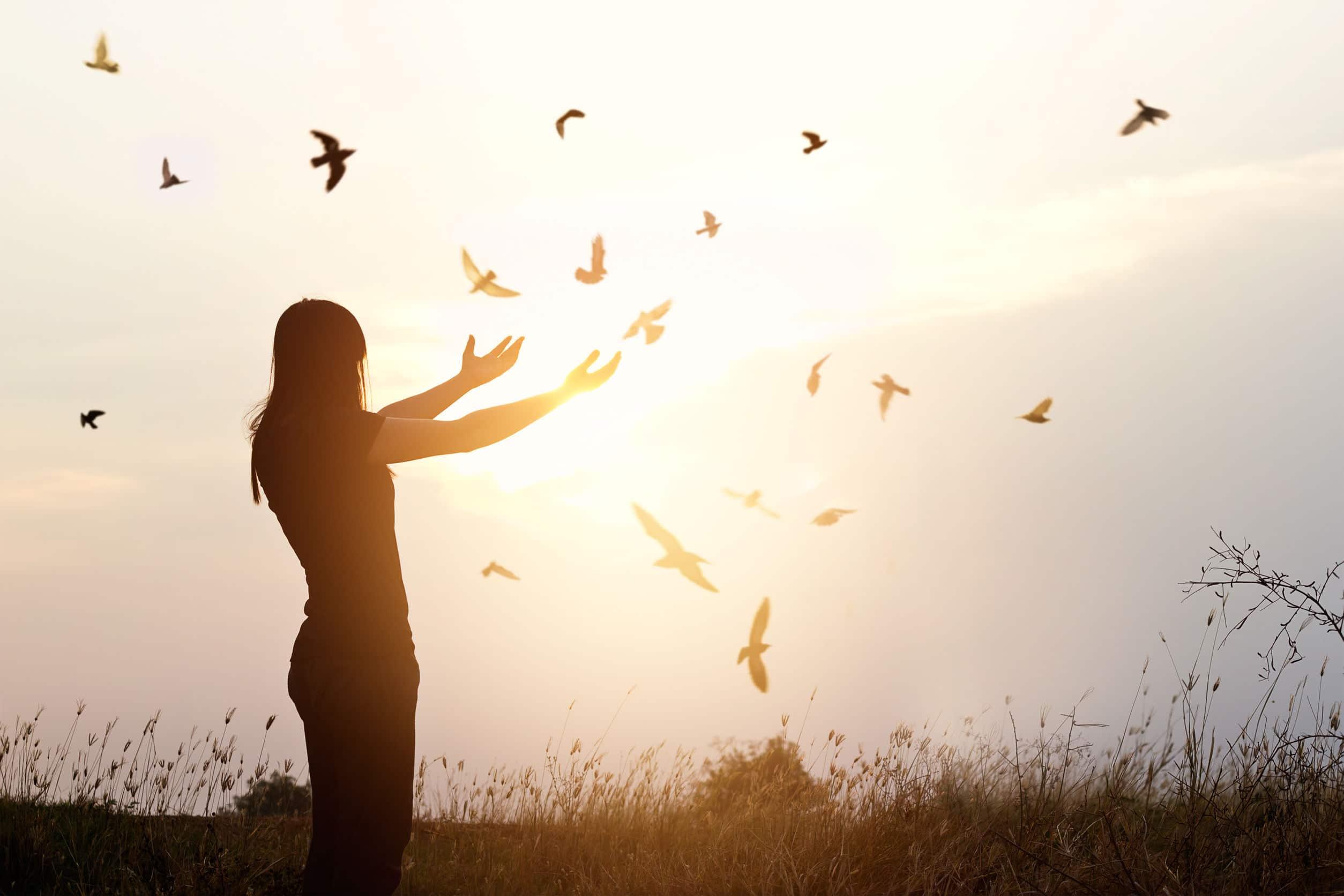 Silhueta sob o sol de uma mulher com os braços exaltados para o céu enquanto pássaros voam ao redor.