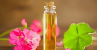 Flor e vidro de óleo de gerânio