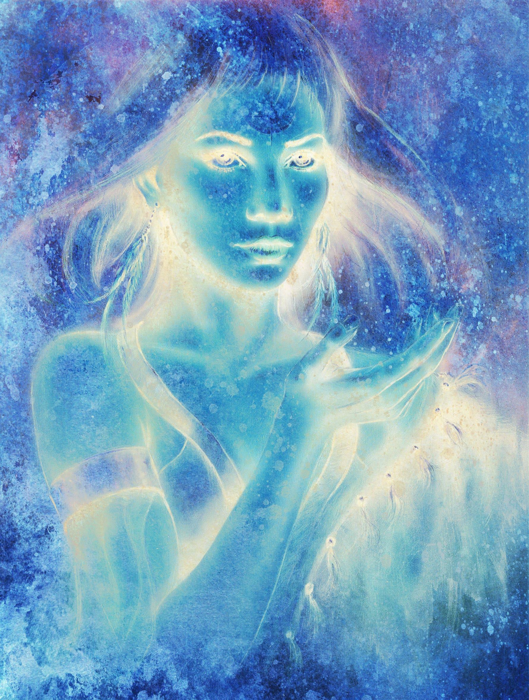 Ilustração em tons de azul, brilhos e estrelas que formam o rosto e o corpo de uma mulher.