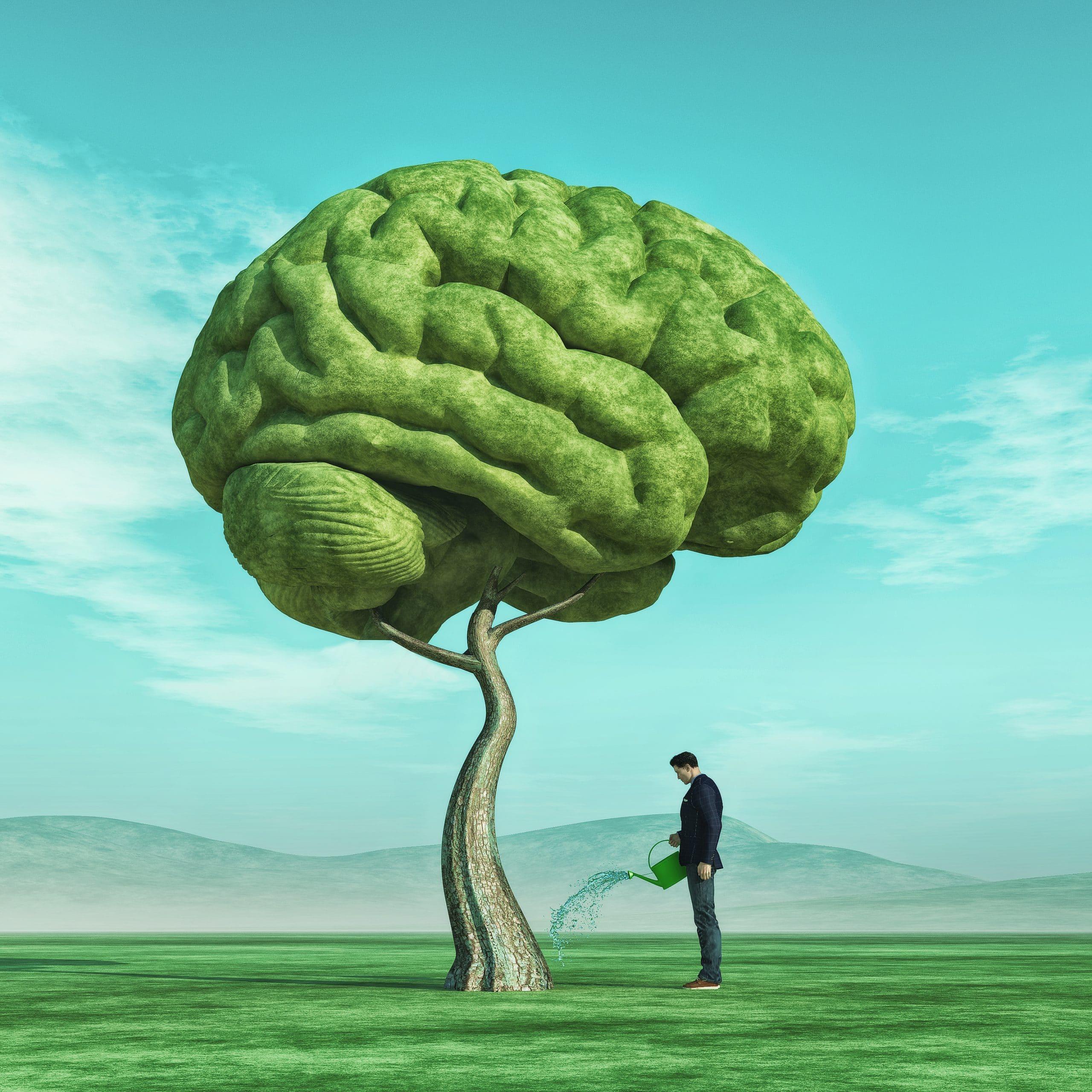 Homem regando árvore em formato de cérebro