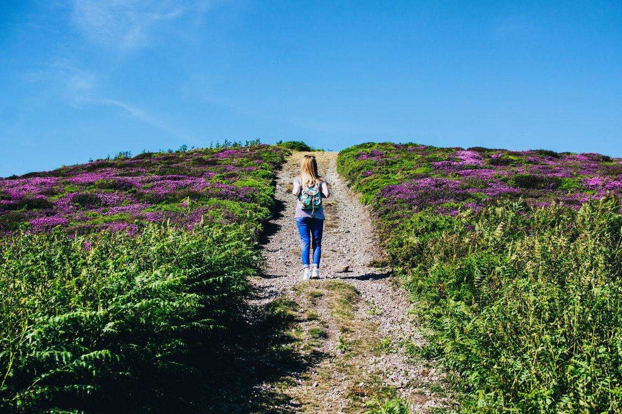 Mulher com mochila nas costas em campo caminhando em caminho de costas