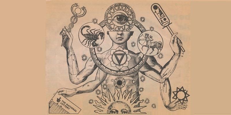 Ilustração de um ser humano cercado por símbolos da alquimia.