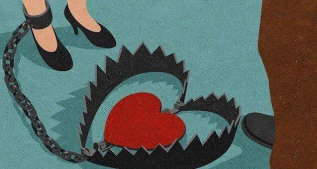 Ilustração de mulher presa ao relacionamento perigoso.