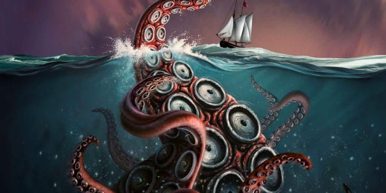 Ilustração de tentáculos de um polvo gigante saindo do mar em direção a um navio