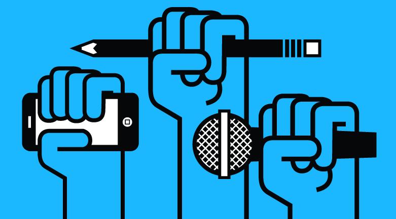 Mãos segurando canetas, celulares e microfones