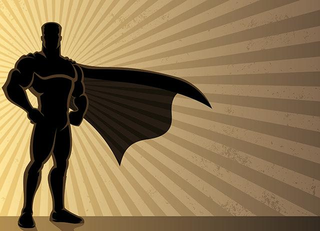 Ilustração da silhueta de um herói com capa.