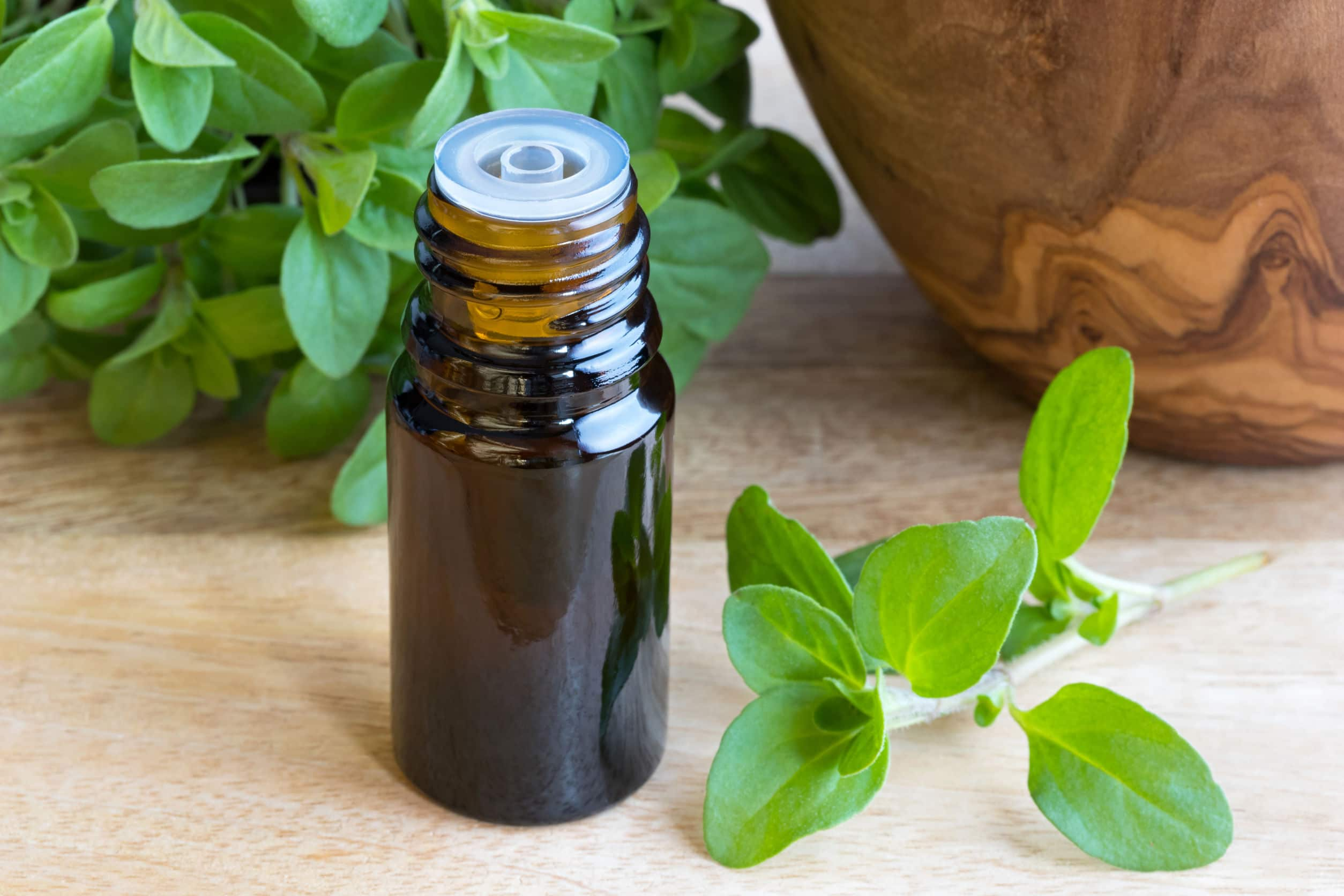 Frasco de óleo ao lado de folhas de manjerona.