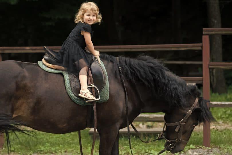 Menina sorrindo em sessão de equoterapia sobre cavalo,