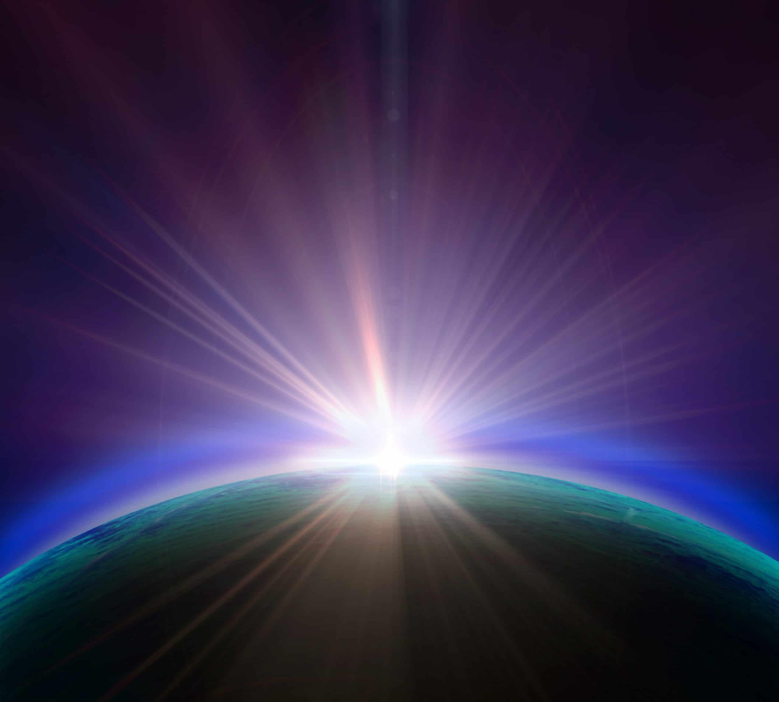 Luz forte incidindo sobre planeta.