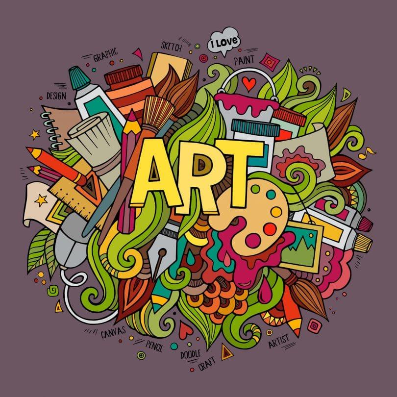 Ilustração da palavra arte escrita em inglês, em amarelo, em cima de desenhos de diversos elementos relacionados a arte como tintas e pincéis. Tudo isso em um fundo roxo escuro.