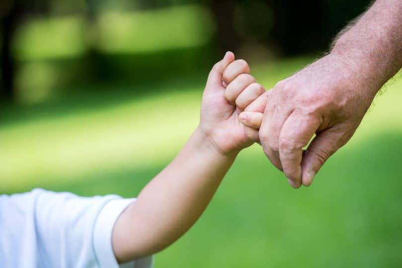 Criança de mãos dadas com adulto em parque.