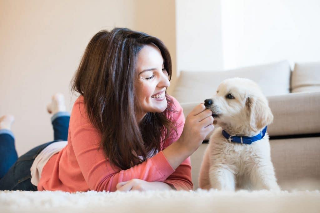 mulher com seu cachorro filhote