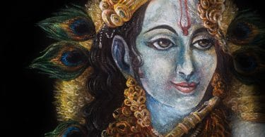 Pintura ilustrando o deus Krishna, do hinduismo