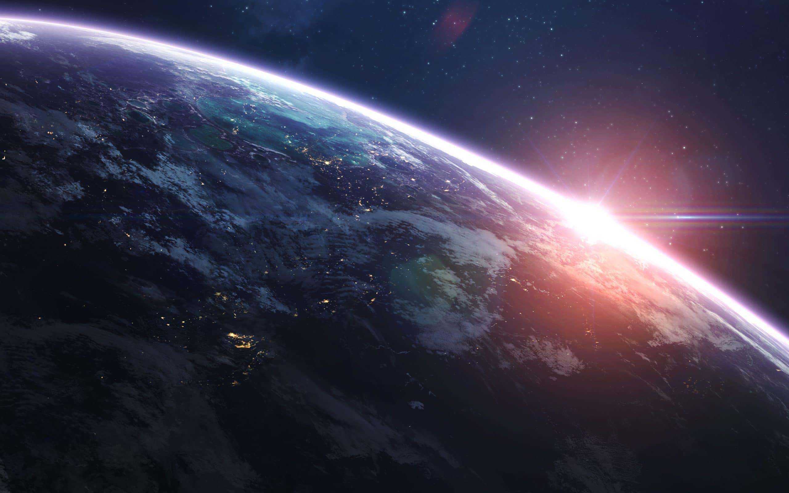 Planeta Terra sendo iluminado.