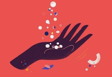 Ilustração de mão com pílulas voando