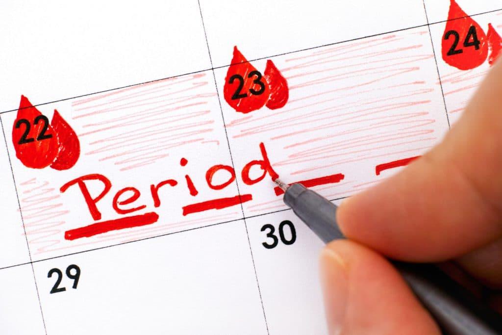 calendário com dias marcados