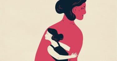 Ilustração de mulher com sua criança interior no meio da figura do seu corpo.