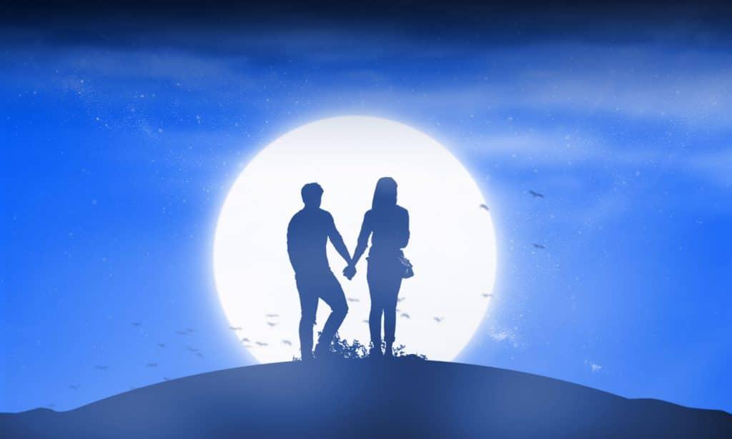 casal sob a lua
