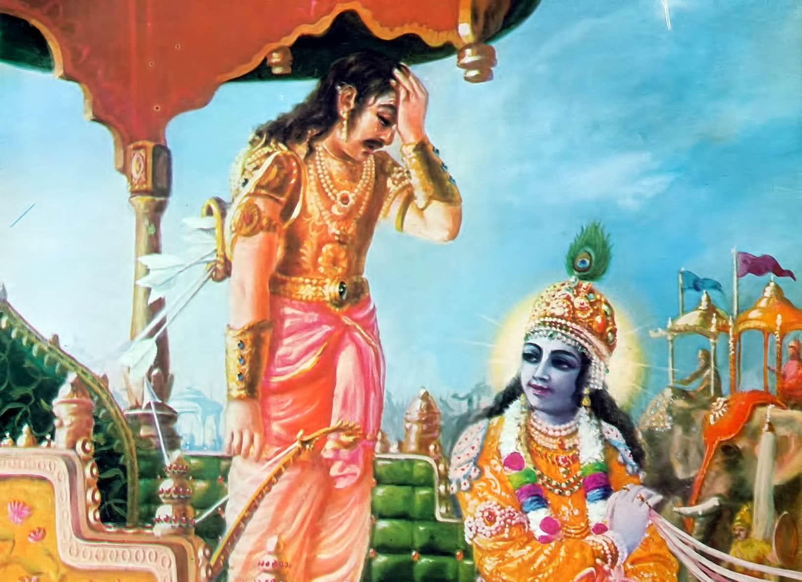 Ilustração de Arjuna e Krishna conversando.