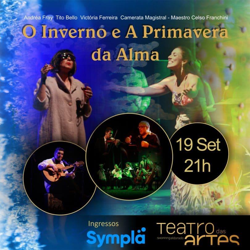 Banner com informações do espetáculo O Inverno e A Primavera da Alma
