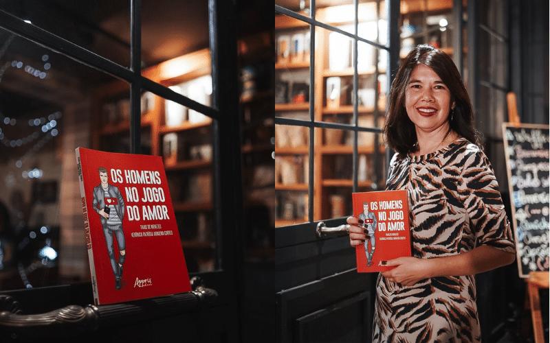 Foto capa do livro e foto de autora com livro