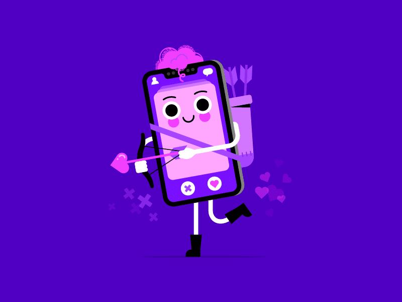 Ilustração celular cupido