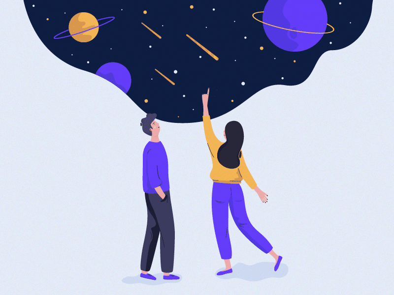 Ilustração casal olhando universo