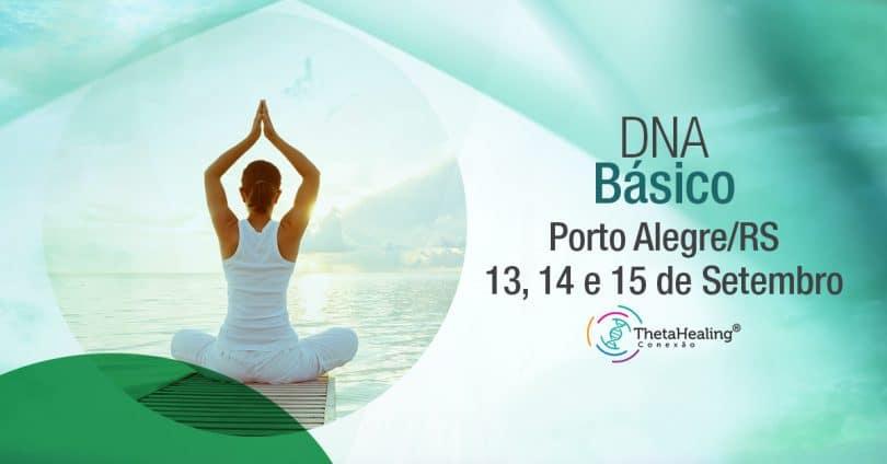 Banner com informações do Curso Thetahealing DNA Básico em Porto Alegre/RS