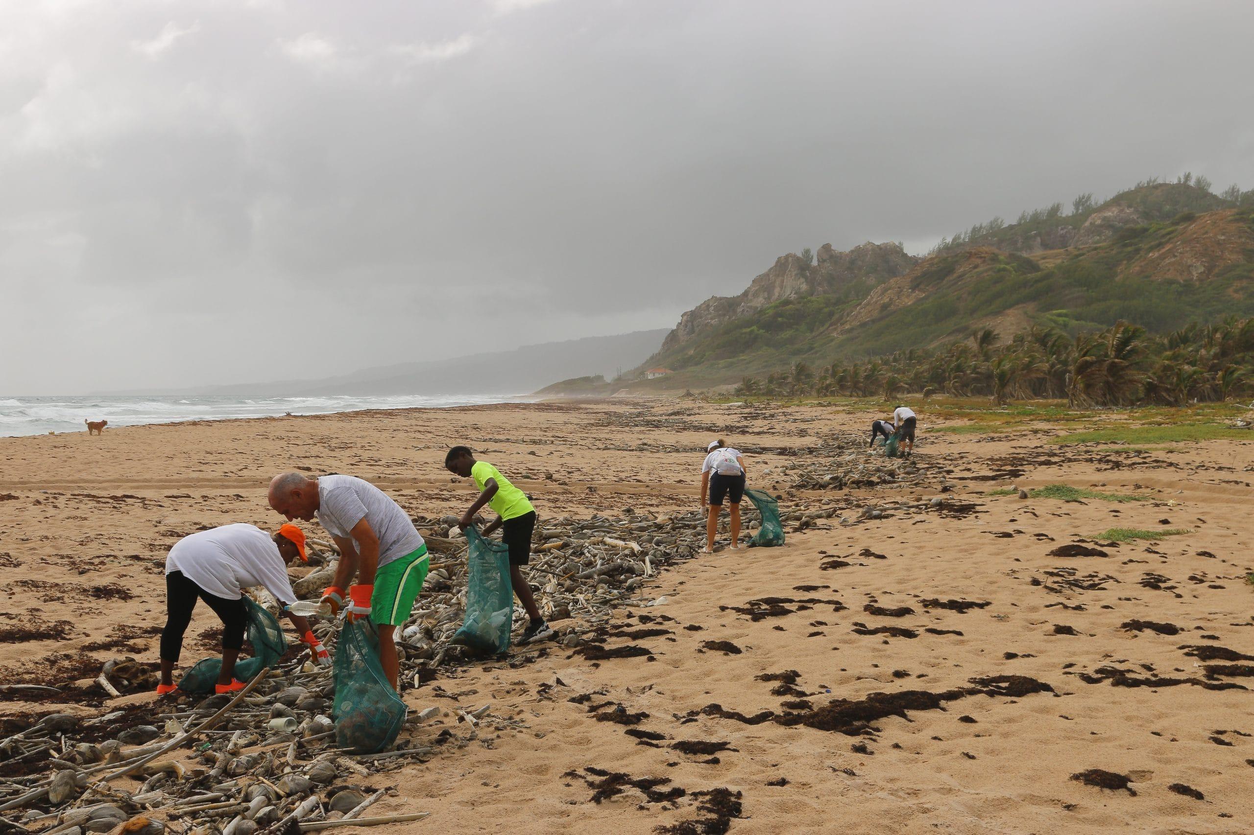 Pessoas recolhendo lixo de praia