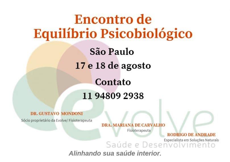Banner com informações do evento Encontro de Equilíbrio Psicobiológico