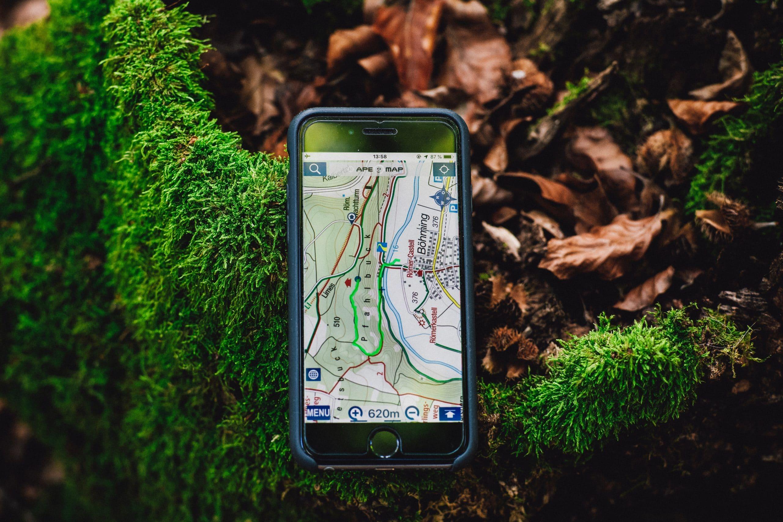 Celular com GPS em floresta.