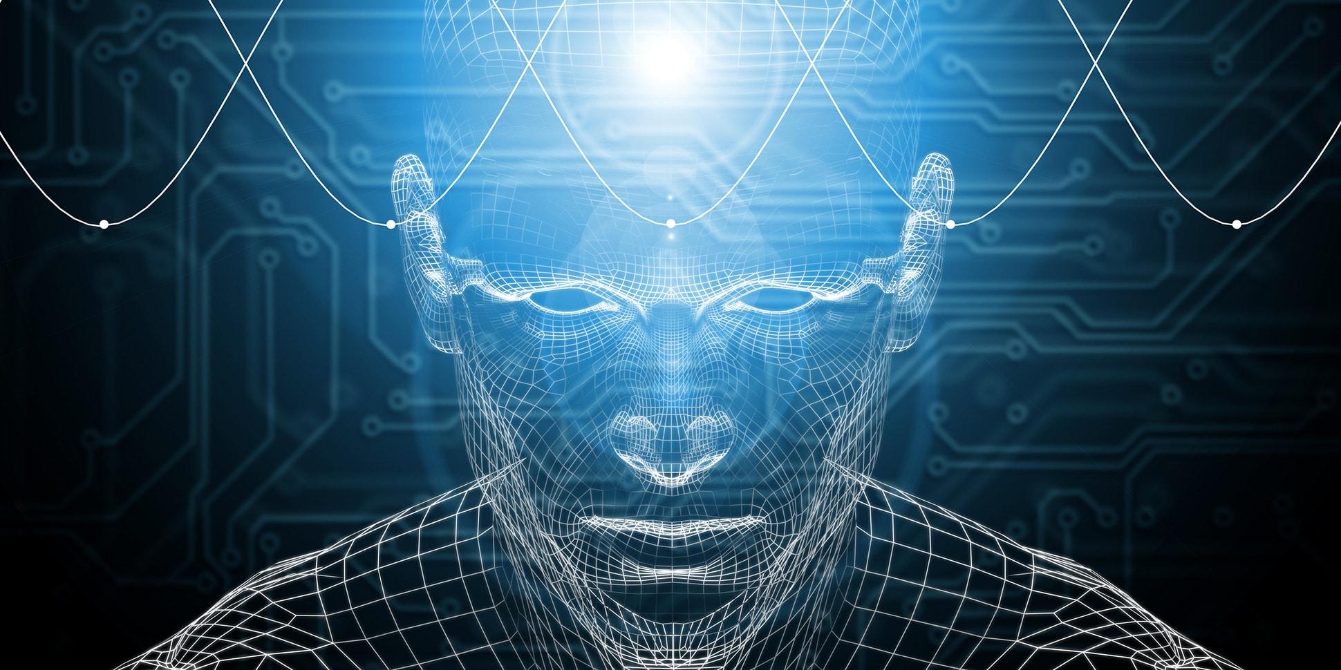 Ilustração de homem com ondas e luzes saindo de sua mente.