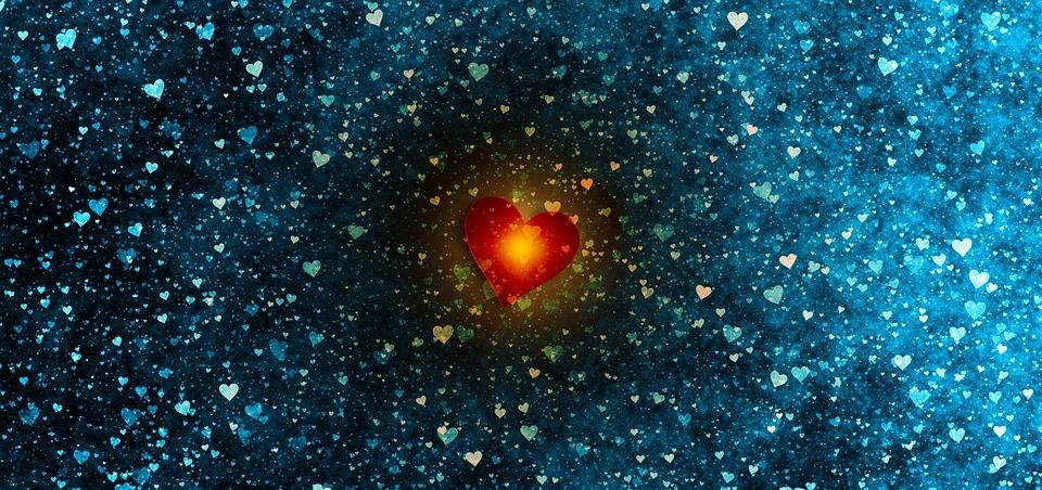 Coração vermelho brilhante.