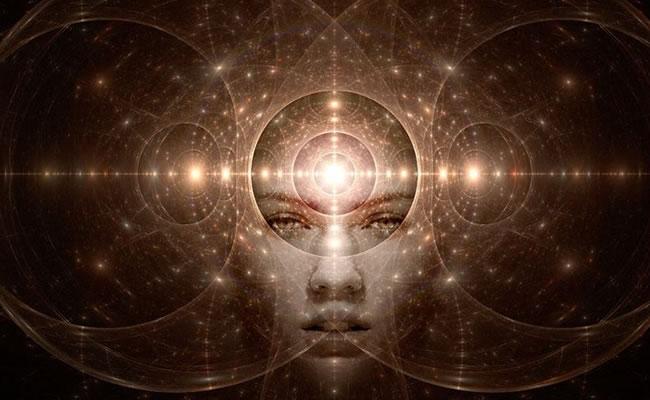 Ilustração de mulher expandindo a mente em pontos de luz.