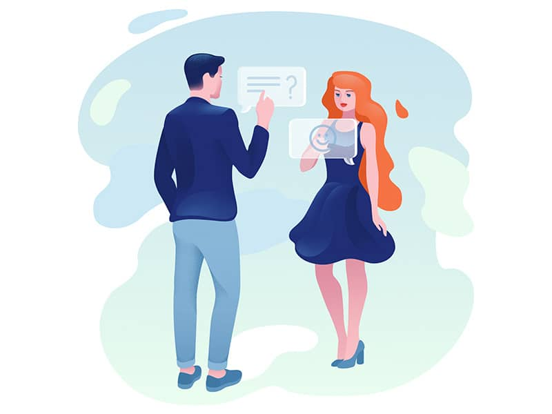 Ilustração casal trocando mensagens