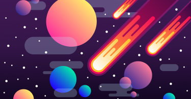 Ilustração de universo com meteoros