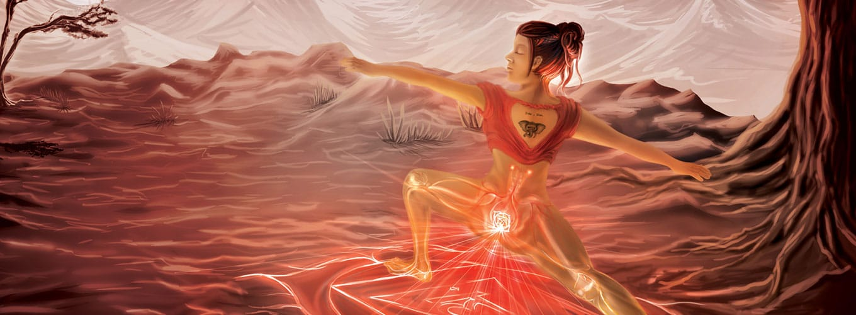 Ilustração de mulher exercitando o primeiro chakra.