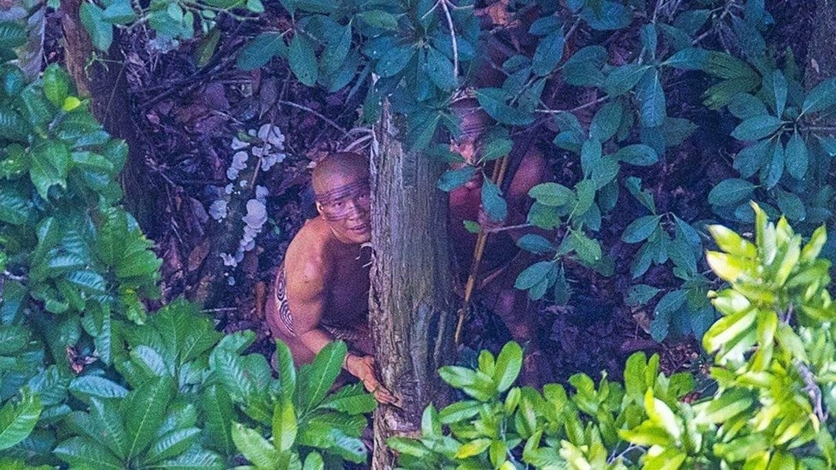 Índios entranhados na mata da floresta amazônica.