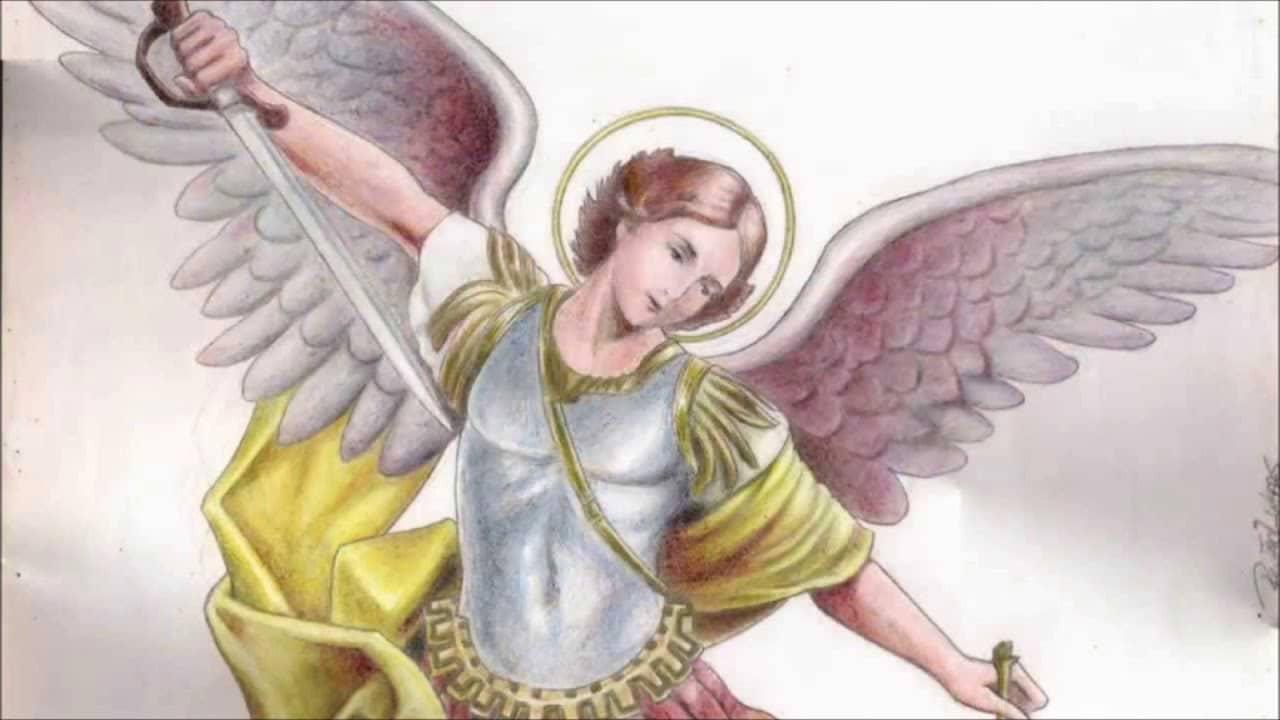 Pintura de São Miguel Arcanjo de braços abertos.