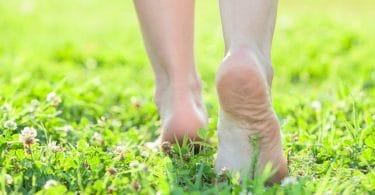 Pés descalços andando em gramado verde florido.
