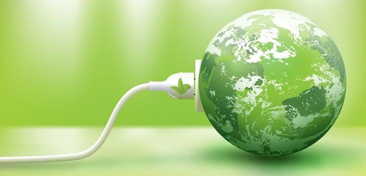 Plug-in ligado a planeta Terra verde.